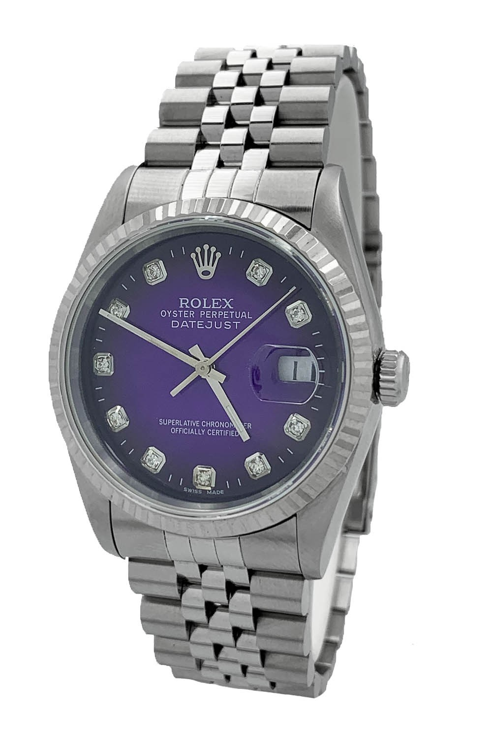 Rolex Oyster Perpetual Datejust Violet Aftermarket Dial Diamonds Ref. 16234