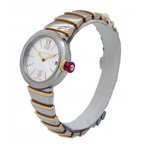 Bulgari Lvcea Automatic Silver Opaline Dial 18kt Pink Gold and Steel