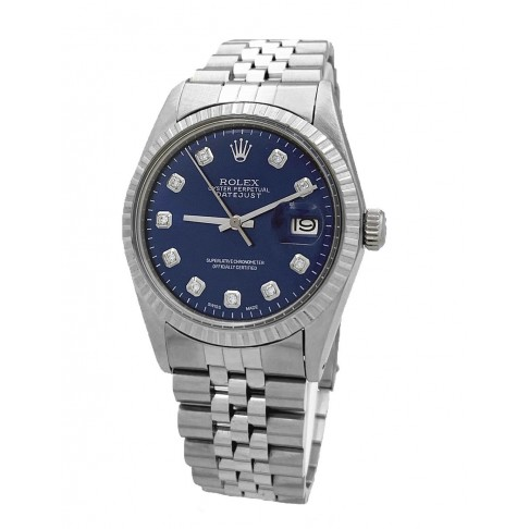 Rolex Oyster Perpetual Datejust Blue Aftermarket Diamonds Dial Ref. 1603
