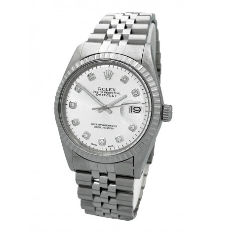 Rolex Oyster Perpetual Datejust Silver Aftermarket Diamonds Dial Ref. 1603