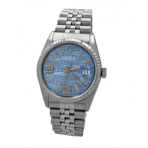 Rolex Oyster Perpetual Datejust light blue Aftermarket Dial 6/9 Diamonds Ref. 16234