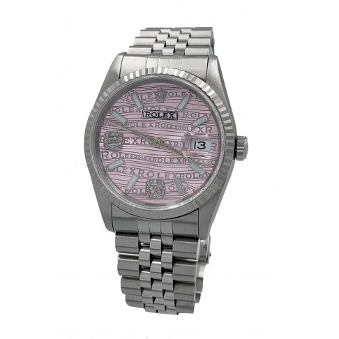 Rolex Oyster Perpetual Datejust Pink Aftermarket Dial 6/9 Diamonds Ref. 16234
