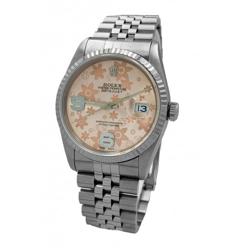 Rolex Oyster Perpetual Datejust Floreal Salmon Dial Ref. 16234