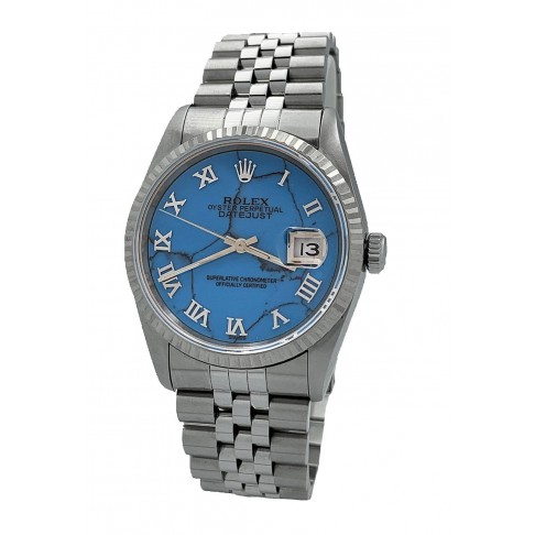 Rolex Oyster Perpetual Datejust Blue Aftermarket Dial Ref. 16234